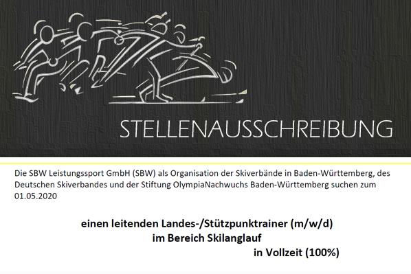 Stellenausschreibung Landes-/Stützpunktrainer (m/w/d) im Bereich Skilanglauf